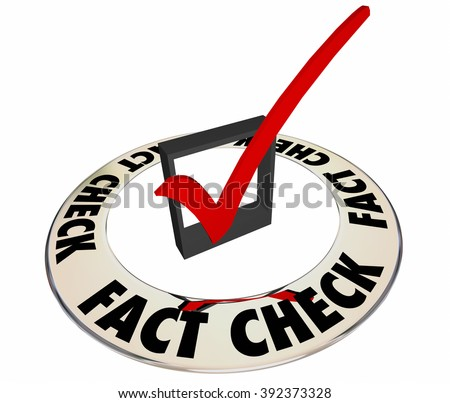 Fact Check Verify Accurate Information Box Mark 3d Words - stock photo