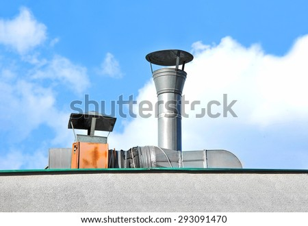 Factory air conditioning and ventilation systems on a roof