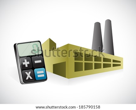 factory and calculator illustration design over a white background - stock photo