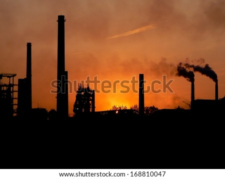 Factory and lot of smoke in Ostrava in Czech Republic