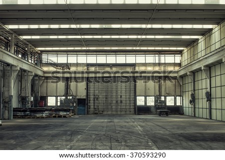factory building hall from the inside - stock photo