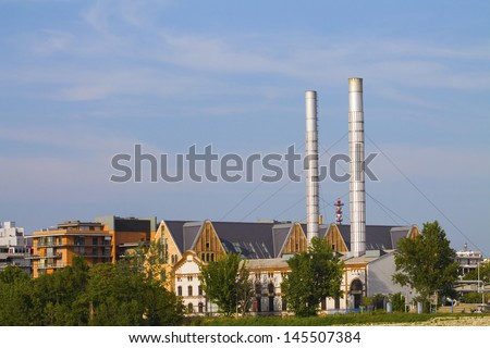 factory chimneys - stock photo
