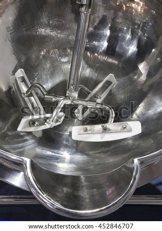Factory-equipped mixers in the production line.