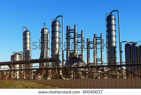 Factory exterior against the sky. - stock photo