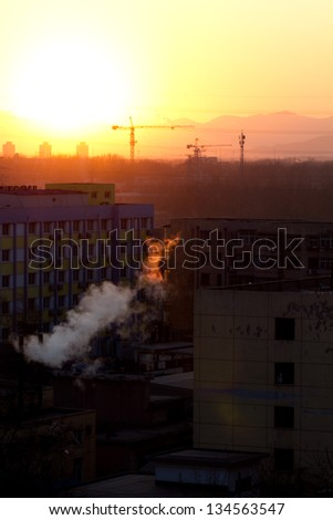 Factory in sunset