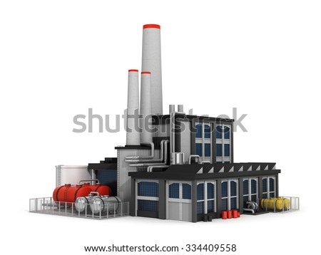 Factory isolated on white background. Computer render. - stock photo