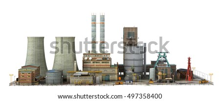 Factory isolated on white background. Industry. 3d illustration