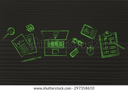 factory of ideas, concept of working in an inspirational environment for brainstorming - stock photo