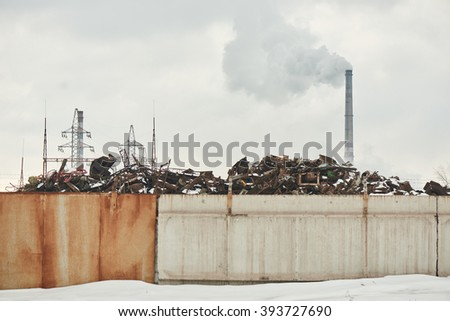 Factory polluting the environment - stock photo