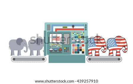 Factory Republican America. Republican Elephant. Republicans production. Political automated line for industry. Production of elephants for USA political party. Machine for production of electorate - stock photo