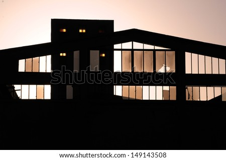 Factory Silhouette - stock photo