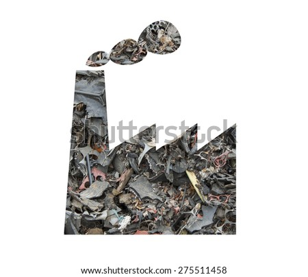 Factory silhouette made of scrap tires as concept for alternative energy  - stock photo