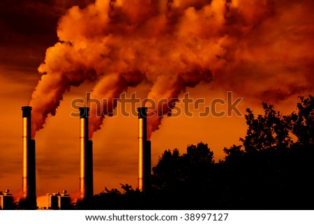 factory smoke at sunset with shadow copy space