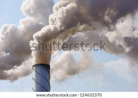 Factory smokestack - stock photo