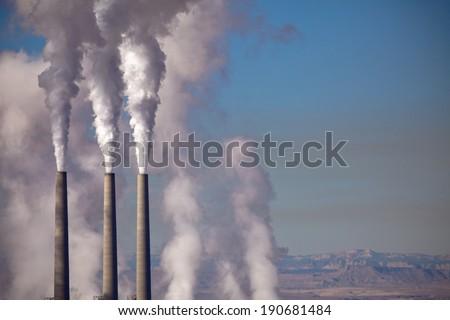 Factory Smokestacks - stock photo