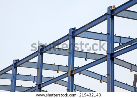 Factory steel framework, closeup of photo