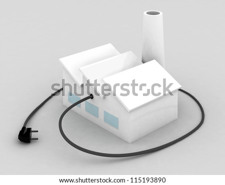 factory with electric plug, 3d illustration - stock photo