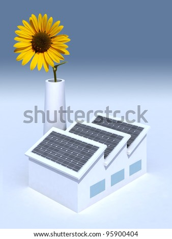 factory with solar panels and a sunflower in the chimney, 3d illustration - stock photo