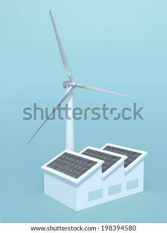 factory with solar panels and wind turbine instead of the chimney, 3d illustration on blue background - stock photo