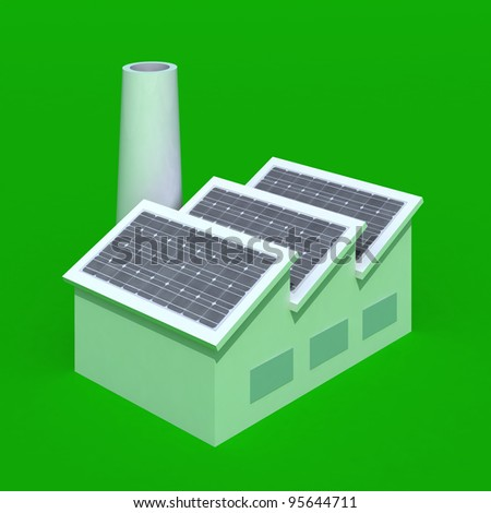 Factory with solar panels on green background, 3d illustration