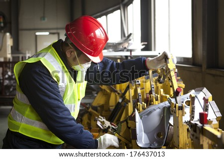 Factory worker on working
