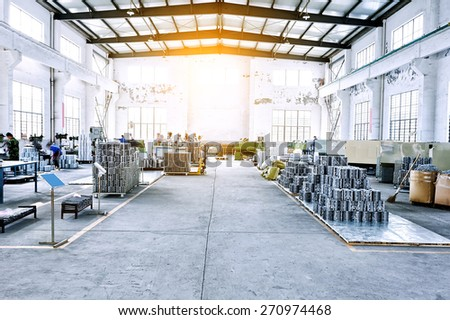 factory workshop interior and machines - stock photo