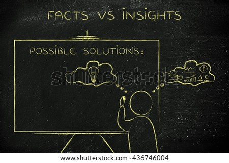 facts vs insights: man writing on blackboard while elaborating creative thoughts (right side of his brain) and analytical reasonings (his left side) - stock photo