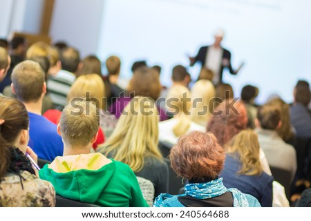 Faculty lecture and workshop. Audience at the lecture hall. Academic education. - stock photo
