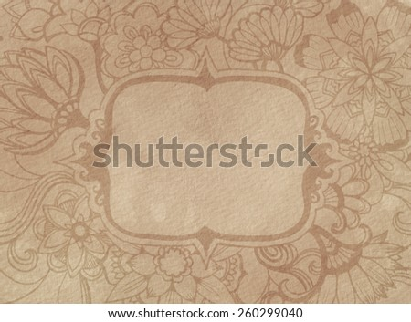 faded brown vintage background design of hand drawn flowers sketched into fancy ornate border design with blank copy space for text, abstract doodle mums roses daisies and other floral design elements - stock photo