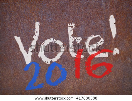 faded colors vote 2016 sign on a weathered rusty metal plate, 2D rendering - stock photo