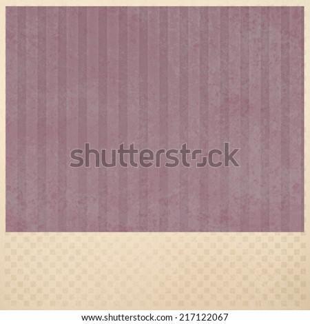 faded dull red pink striped background pattern, beige or cream color checkered border and pink insert of distressed old paper texture