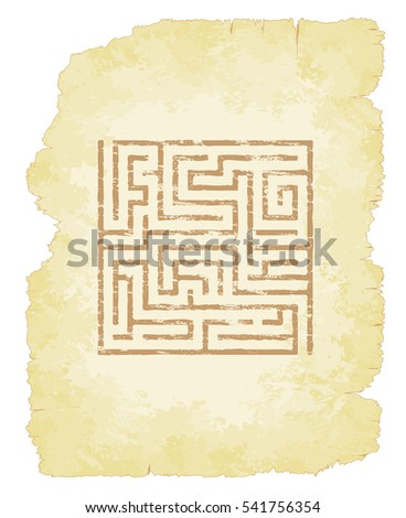Faded maze on old parchment illustration