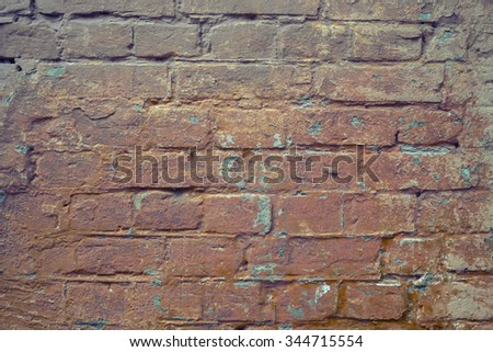 Faded red grunge brick wall texture background.  - stock photo