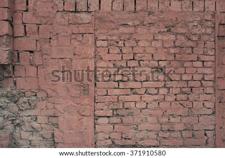 Faded worn brick wall texture background.  - stock photo