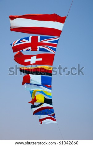 fags of various European countries against the blue sky