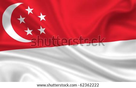 Fahne Flagge Singapur - stock photo