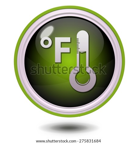 fahrenheit circular icon on white background