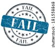 Fail blue grunge round stamp on white background - stock photo