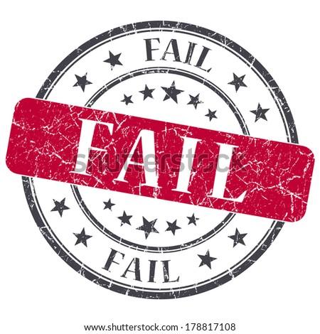 Fail red grunge round stamp on white background - stock photo