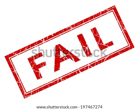 Fail red square grungy stamp isolated on white background - stock photo