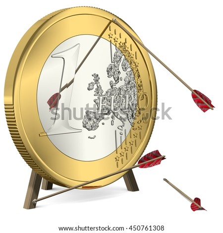 Failure - Arrows do not hit the Euro Coin Target - 3d-Illustration - stock photo