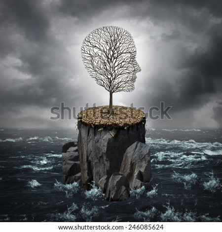 Failure crisis concept and lost business career or education opportunity metaphor as a dying tree shaped as a human head alone on a rock cliff with dry ground surrounded by an ocean. - stock photo
