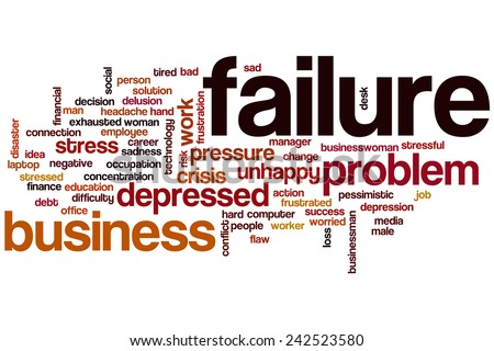 Failure word cloud concept with problem tired related tags - stock photo