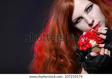 Fair-hair woman - stock photo