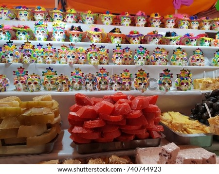Fair in the city  tradition of day of the dead, with figures of sugar and sweets typical of the region