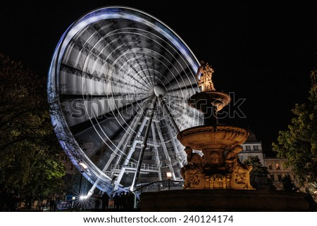 Fair wheel in Budapest shot with long exposure - stock photo