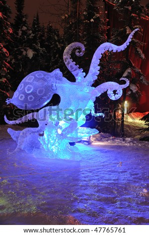 "FAIRBANKS, AK - FEBRUARY 27: ""Blue Ring Octopus"" Ice Sculpture, 2010 World Ice Art Championships February 27, 2010 in Fairbanks, Alaska - stock photo"