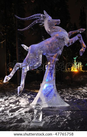 "FAIRBANKS, AK - FEBRUARY 27: ""Chasing the Wind"" Ice Sculpture, 2010 World Ice Art Championships February 27, 2010 in Fairbanks, Alaska"