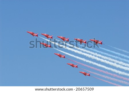 Fairford , UK, July 2006. Famous Red Arrows aerobatic Display Team.