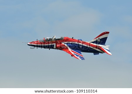 FAIRFORD, UK - JULY 8: Royal Air Force Hawk aircraft participates in the Royal International Air Tattoo airshow event July 8, 2012 near Cirencester, England. - stock photo